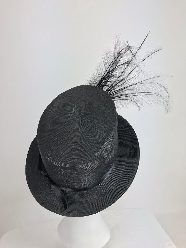 Edwardian Glazed black straw hat with Bird of Paradise feathers In Good Condition For Sale In West Palm Beach, FL