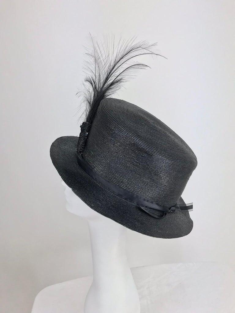 Women's Edwardian Glazed black straw hat with Bird of Paradise feathers For Sale