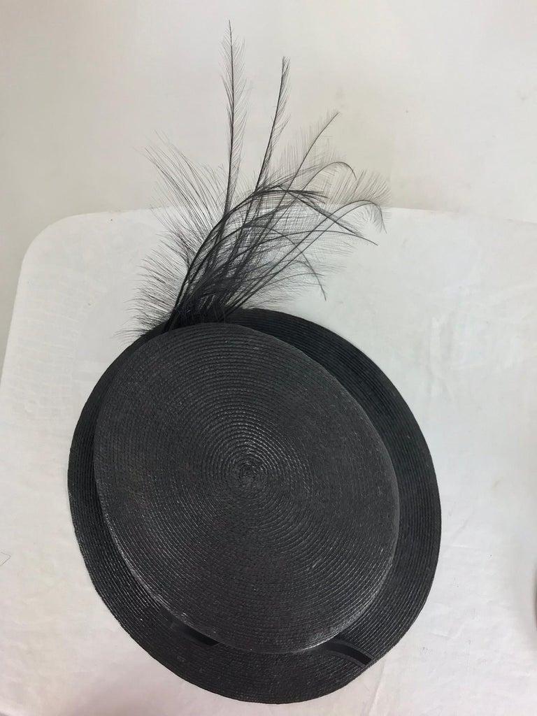 Edwardian Glazed black straw hat with Bird of Paradise feathers For Sale 1
