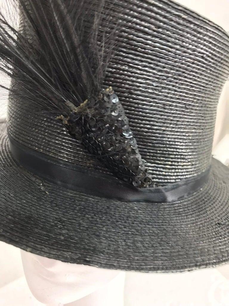 Edwardian Glazed black straw hat with Bird of Paradise feathers For Sale 2
