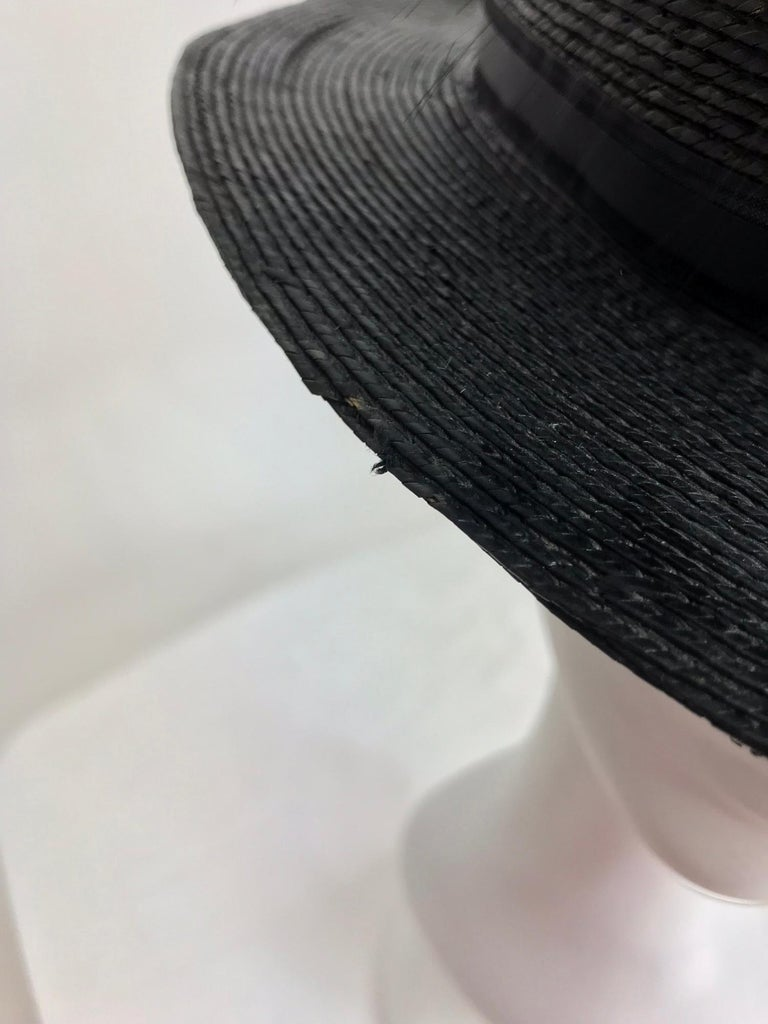 Edwardian Glazed black straw hat with Bird of Paradise feathers For Sale 3