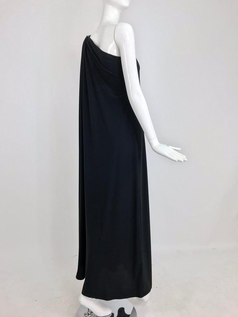 Adele Simpson black jersey one shoulder gown with jewel clasp For Sale 1