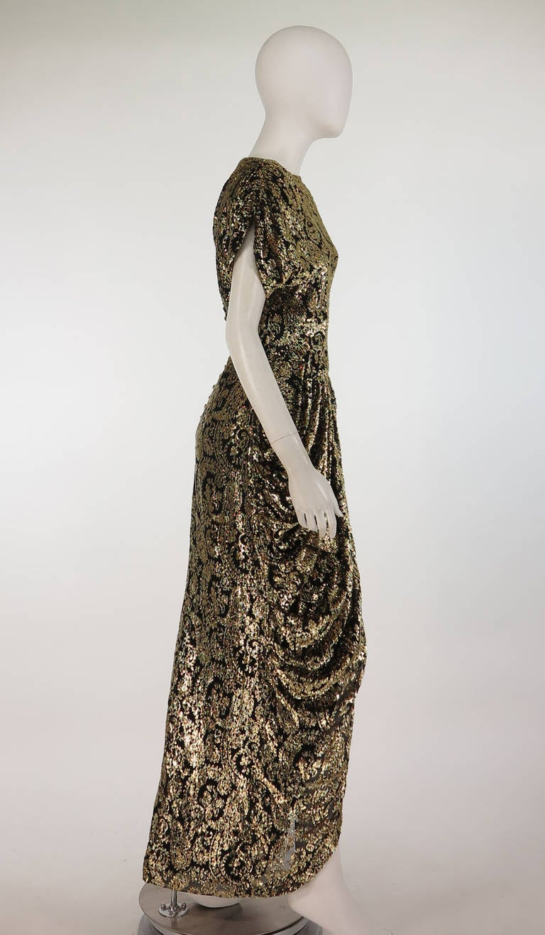 Black Lillie Rubin black and gold Lurex 40s inspired gown For Sale