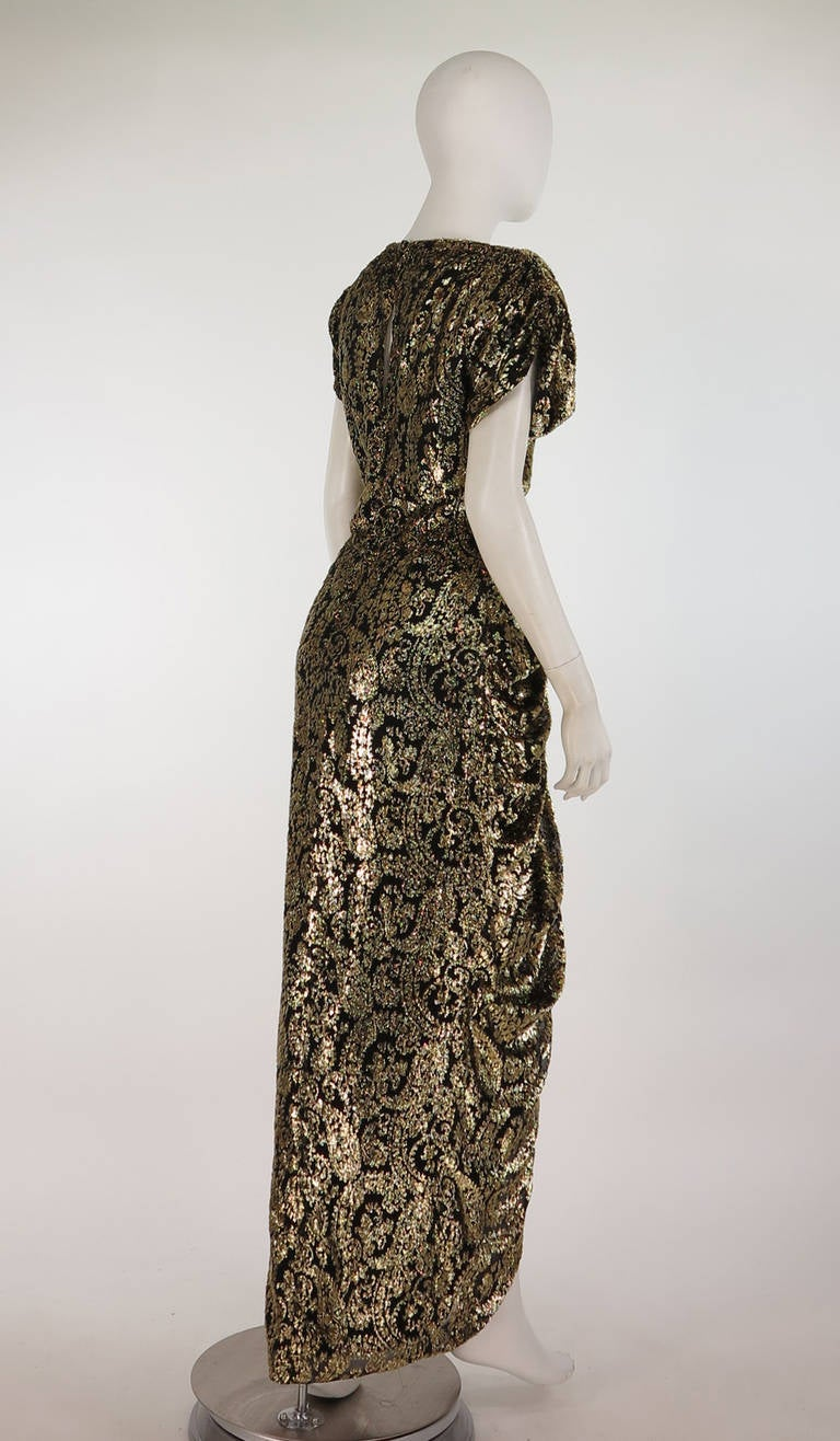 Lillie Rubin black and gold Lurex 40s inspired gown In Good Condition For Sale In West Palm Beach, FL