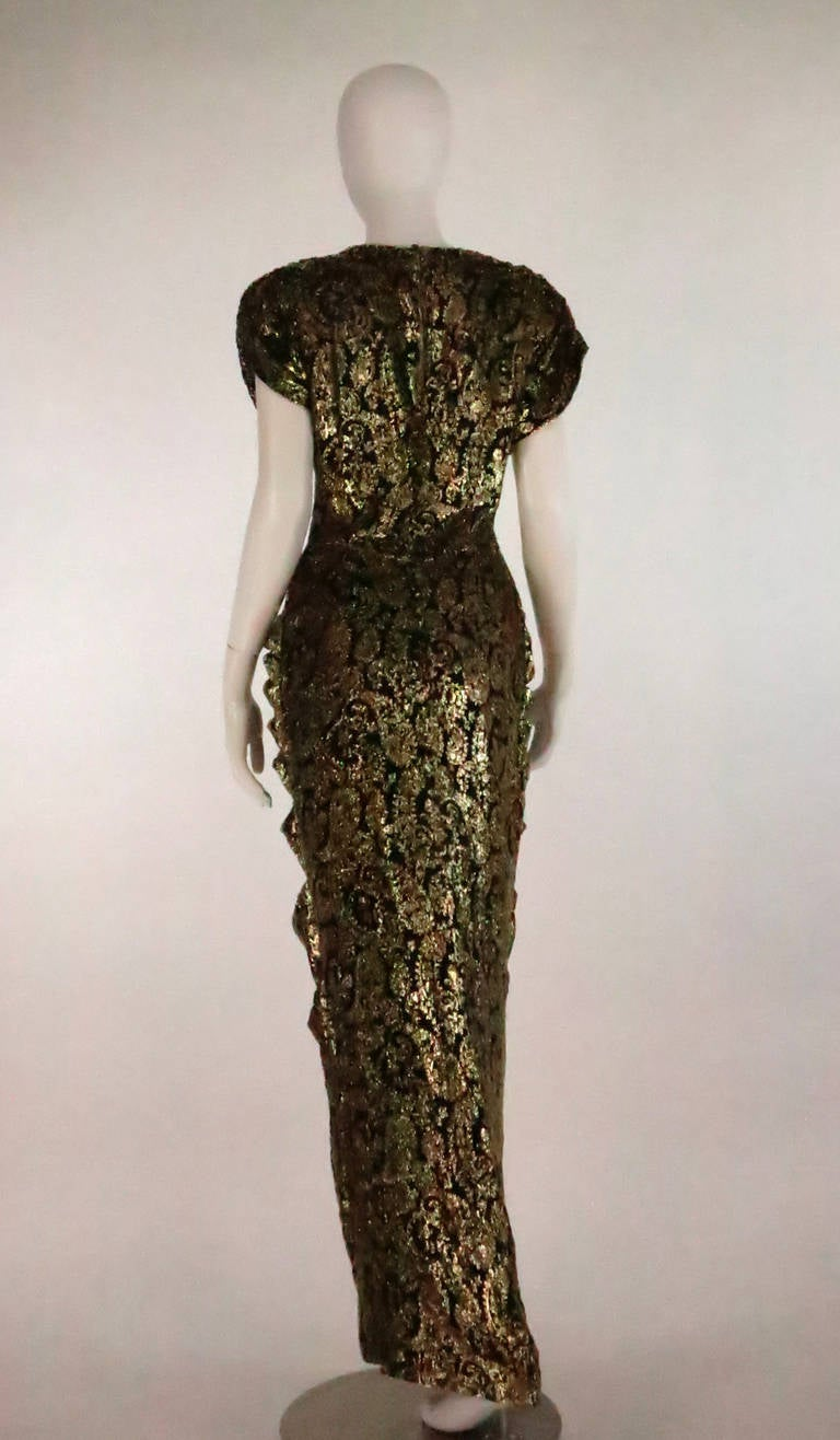 Women's Lillie Rubin black and gold Lurex 40s inspired gown For Sale