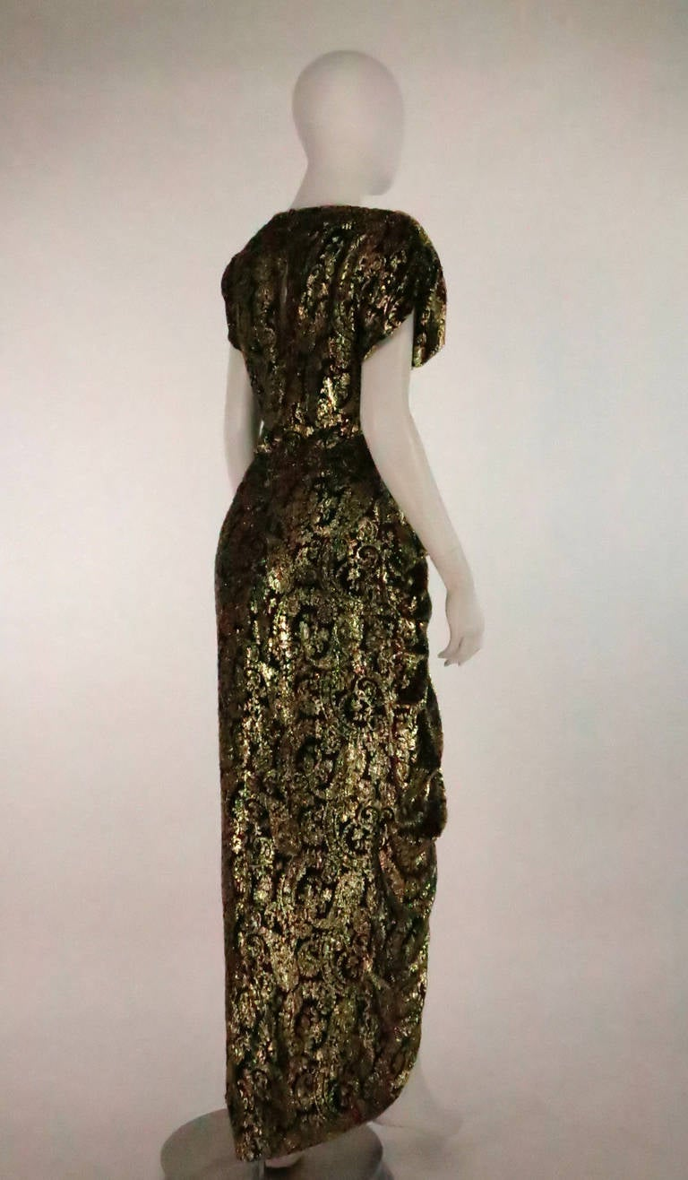 Lillie Rubin black and gold Lurex 40s inspired gown For Sale 1