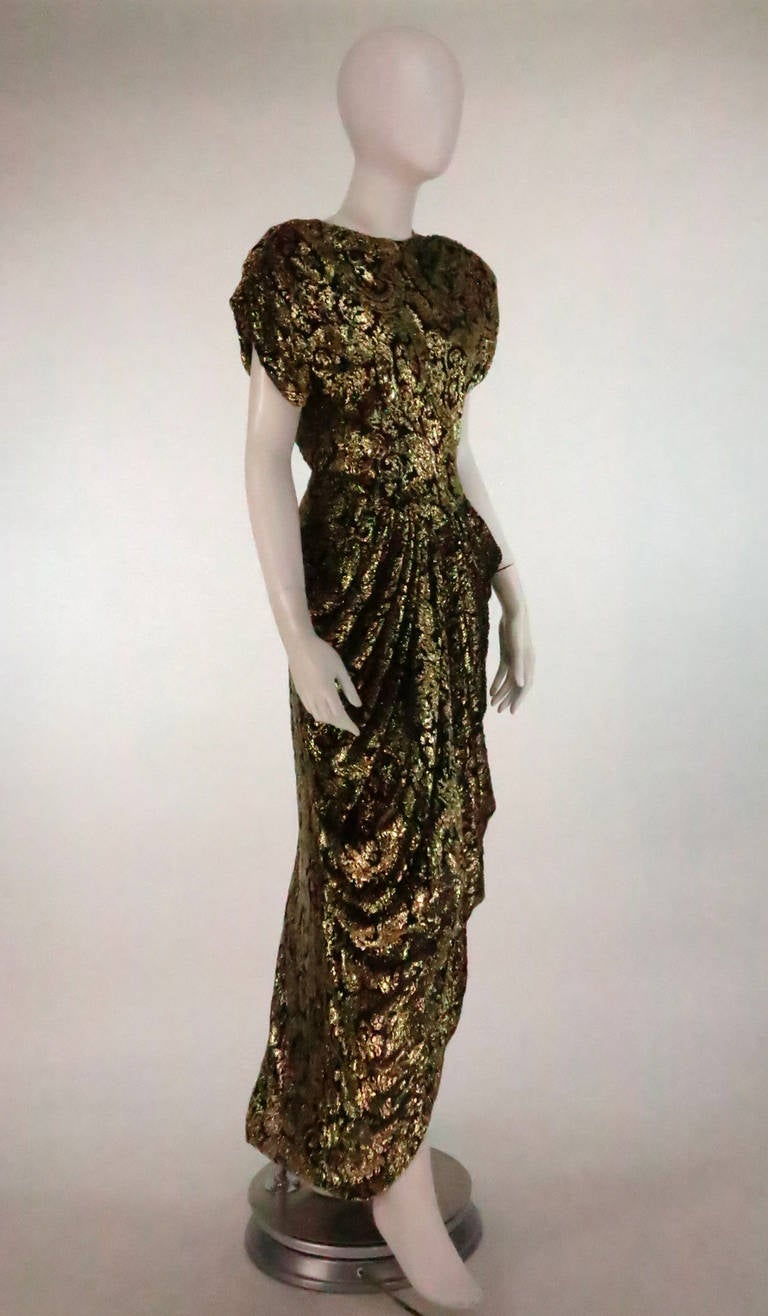Lillie Rubin black and gold Lurex 40s inspired gown For Sale 2