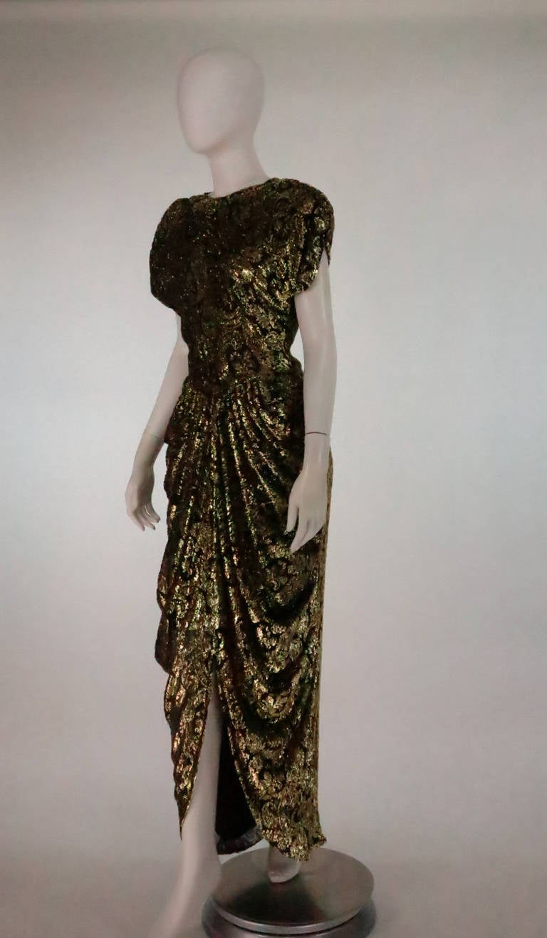 Lillie Rubin black and gold Lurex 40s inspired gown For Sale 3
