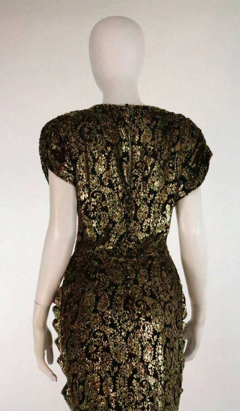 Lillie Rubin black and gold Lurex 40s inspired gown For Sale 4