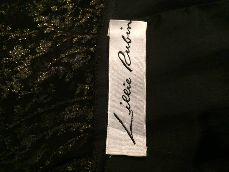 Lillie Rubin black and gold Lurex 40s inspired gown For Sale 5