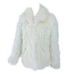Arissa France shaggy off white string faux fur jacket, 1980s