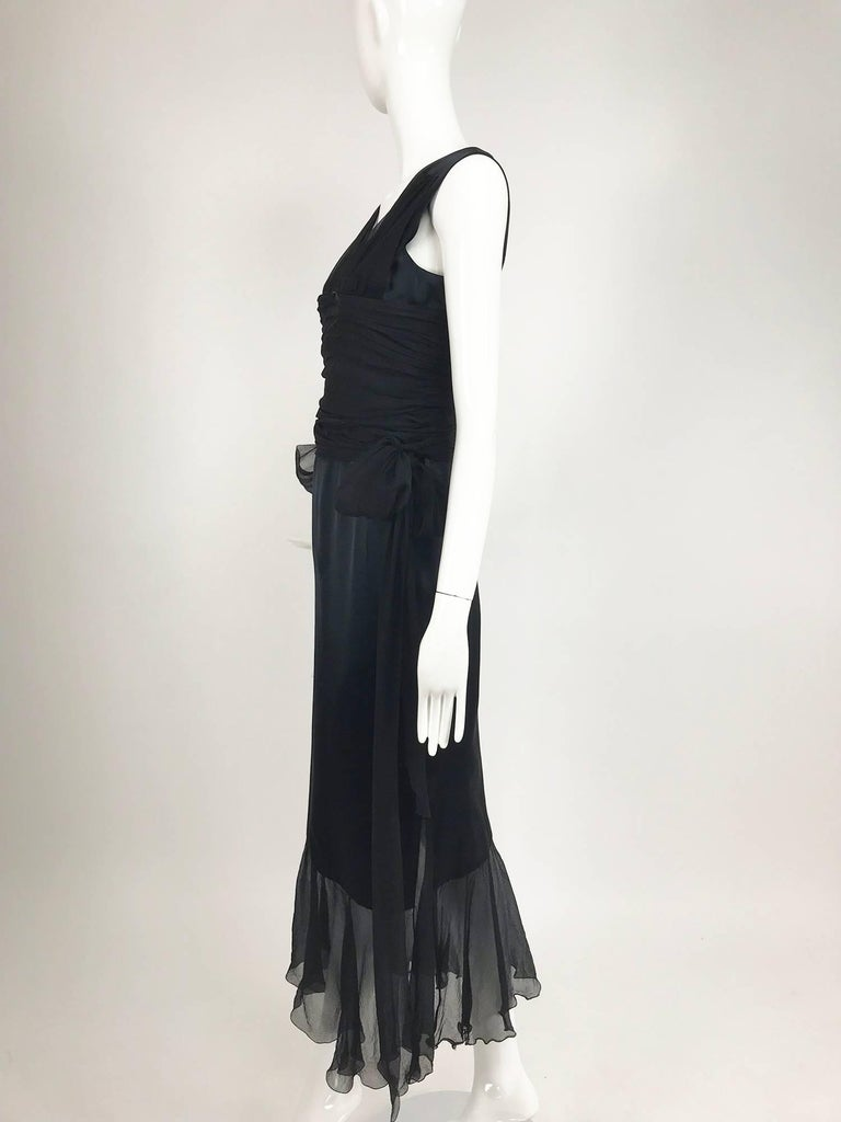 Chanel Black Silk Satin and Chiffon Evening Gown 2006A In Good Condition For Sale In West Palm Beach, FL