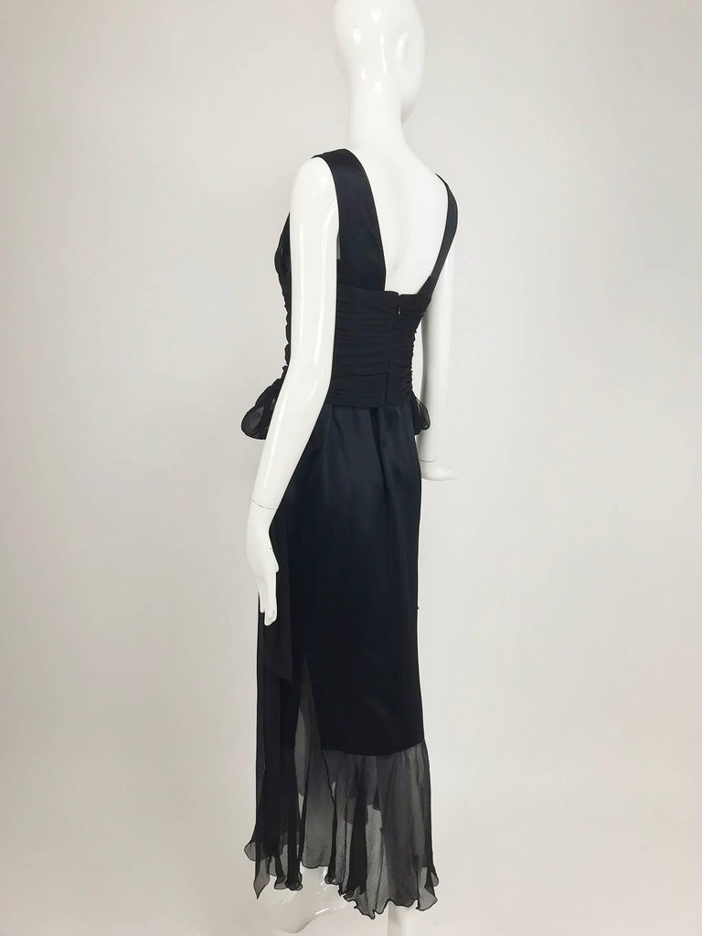 Chanel Black Silk Satin and Chiffon Evening Gown 2006A For Sale 1