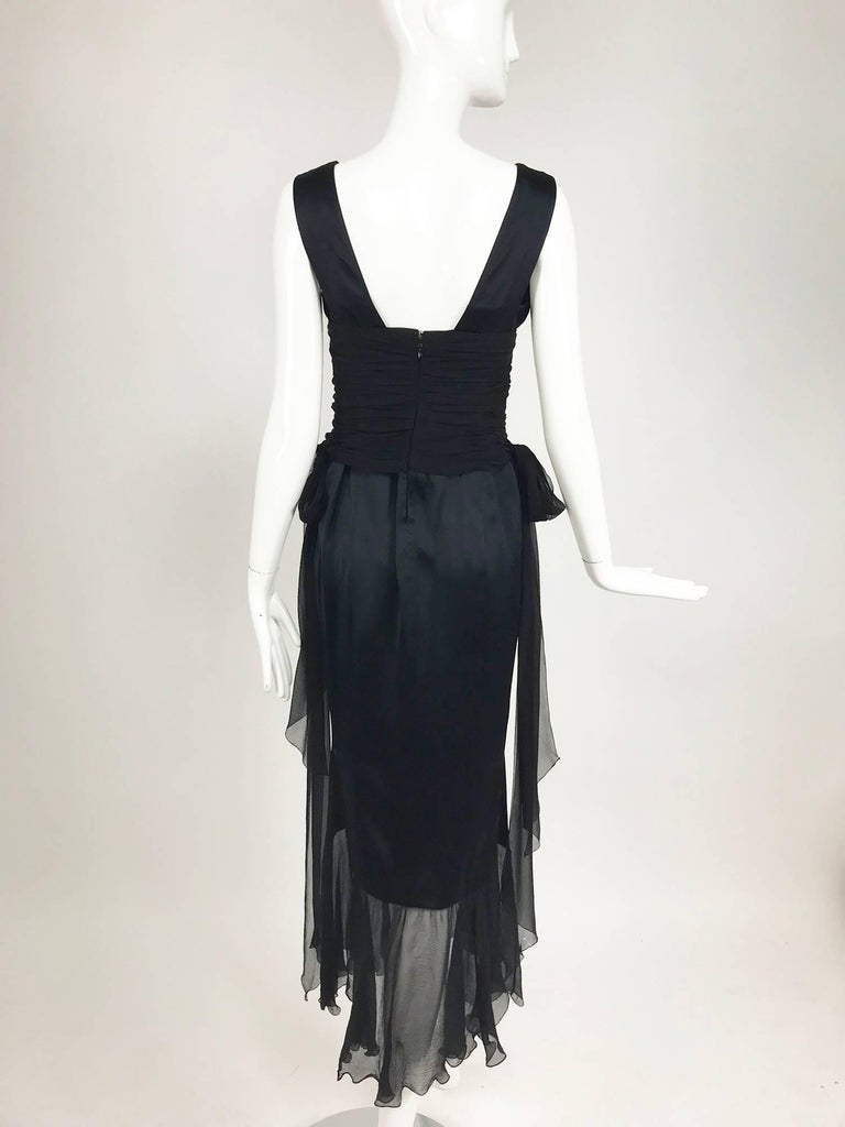 Chanel Black Silk Satin and Chiffon Evening Gown 2006A For Sale 2
