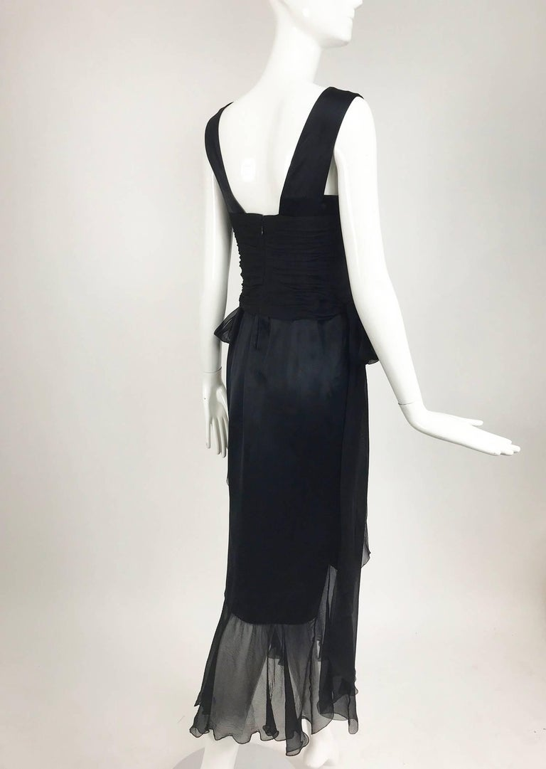 Chanel Black Silk Satin and Chiffon Evening Gown 2006A For Sale 3