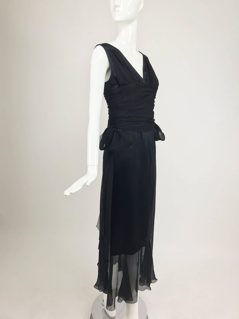 Chanel Black Silk Satin and Chiffon Evening Gown 2006A For Sale 4