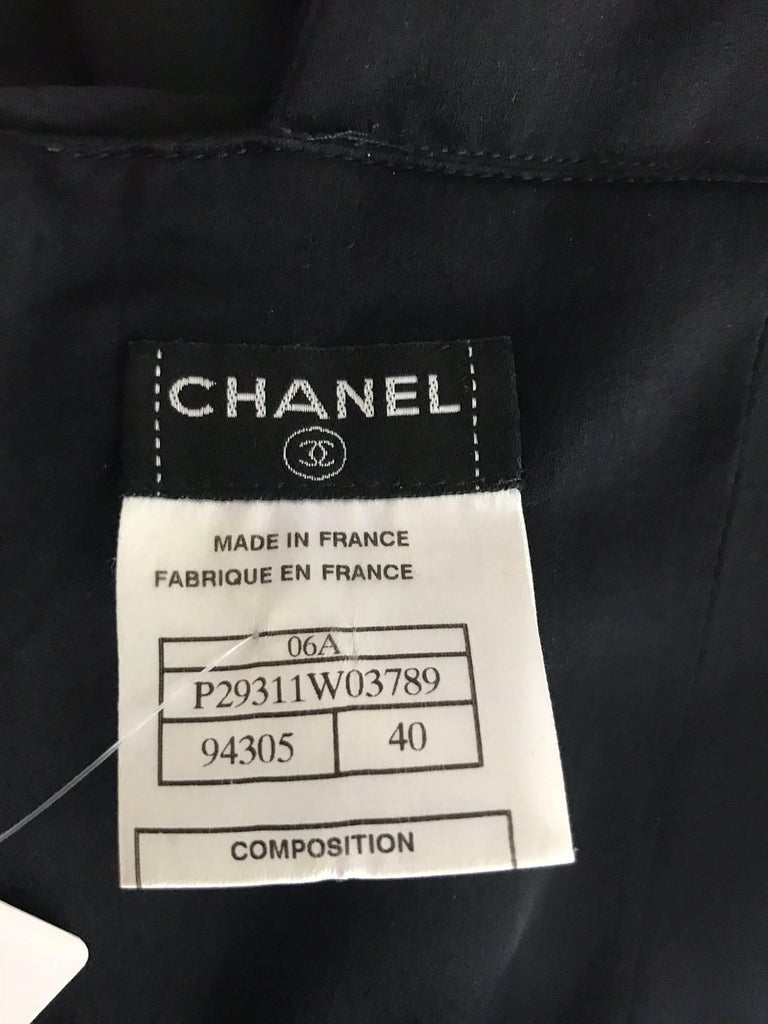 Chanel Black Silk Satin and Chiffon Evening Gown 2006A For Sale 6