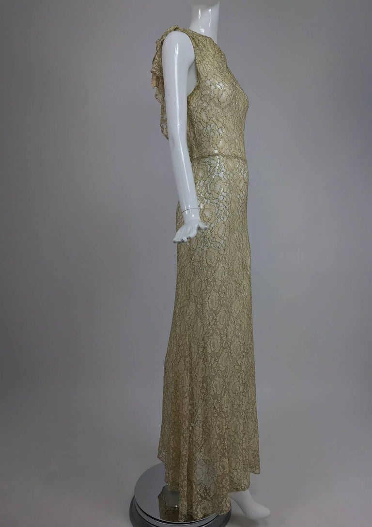 Gray 1930s Mixed Gold Metallic and Cream Lace Evening Dress For Sale