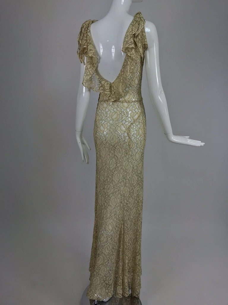 Women's 1930s Mixed Gold Metallic and Cream Lace Evening Dress For Sale