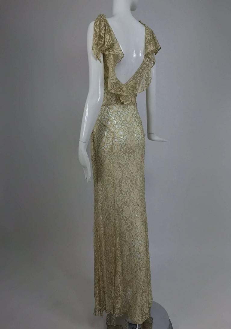 1930s Mixed Gold Metallic and Cream Lace Evening Dress For Sale 1