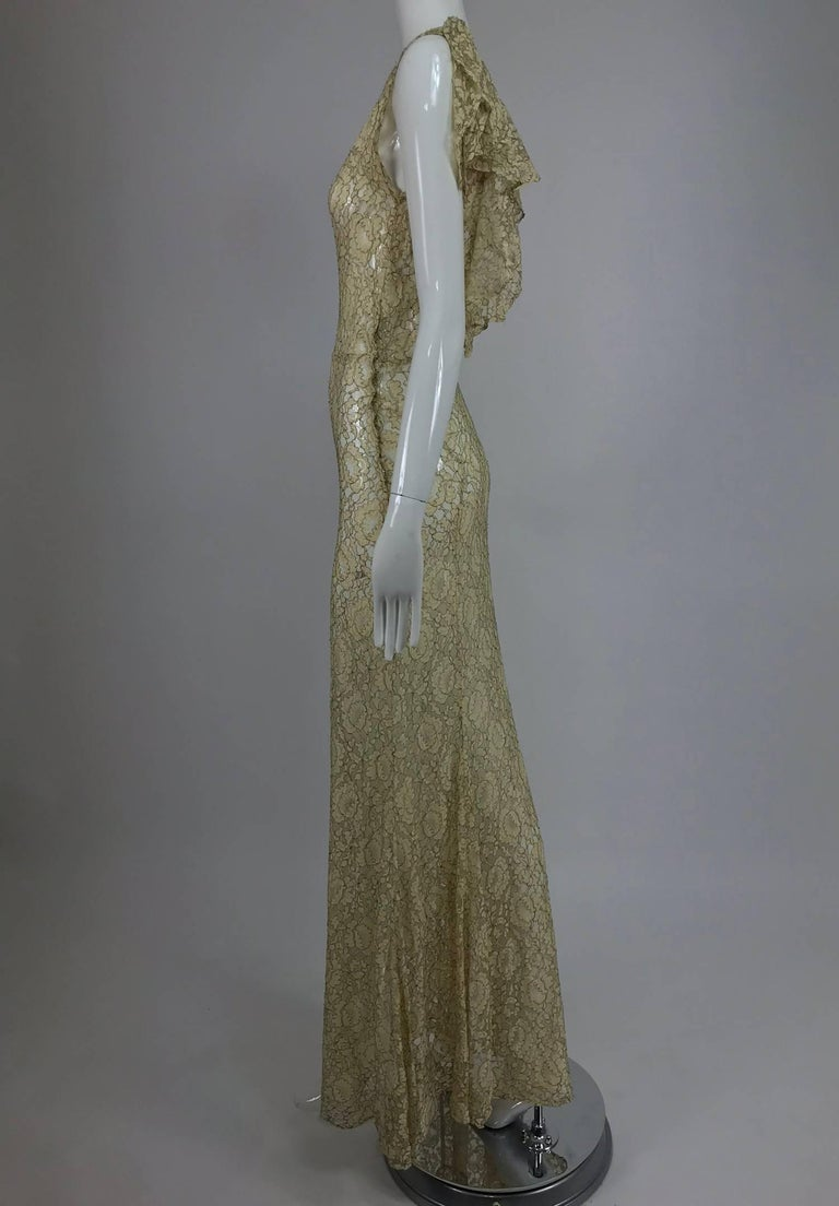1930s Mixed Gold Metallic and Cream Lace Evening Dress For Sale 2