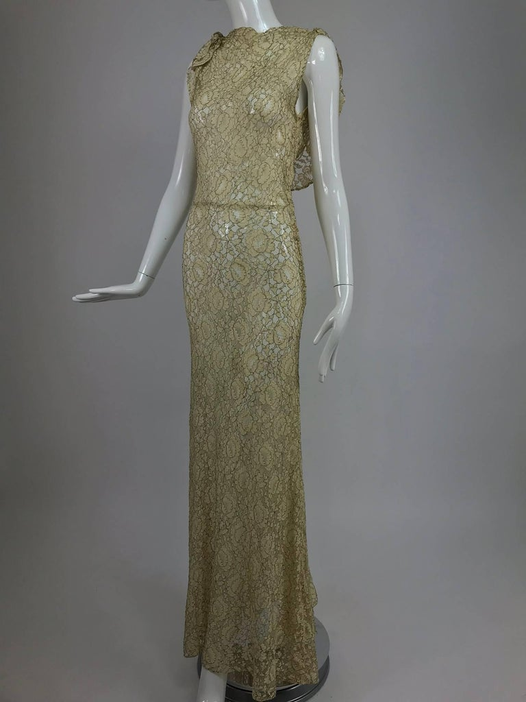 1930s Mixed Gold Metallic and Cream Lace Evening Dress For Sale 4
