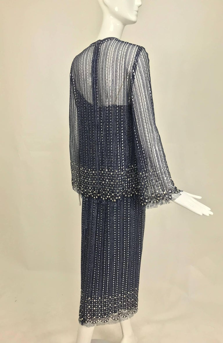 Vintage Mollie Parnis Silver and Inky Blue Rhinestone Dress 1970s In Good Condition For Sale In West Palm Beach, FL