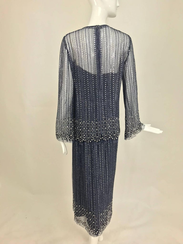 Women's Vintage Mollie Parnis Silver and Inky Blue Rhinestone Dress 1970s For Sale