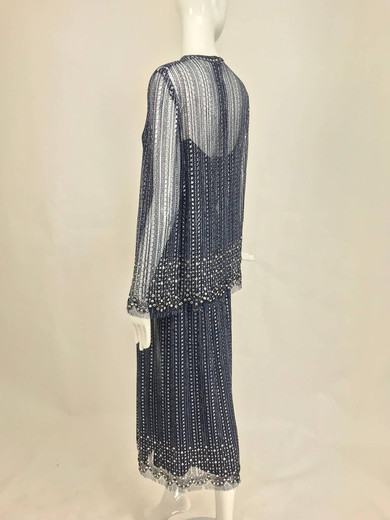 Vintage Mollie Parnis Silver and Inky Blue Rhinestone Dress 1970s For Sale 1