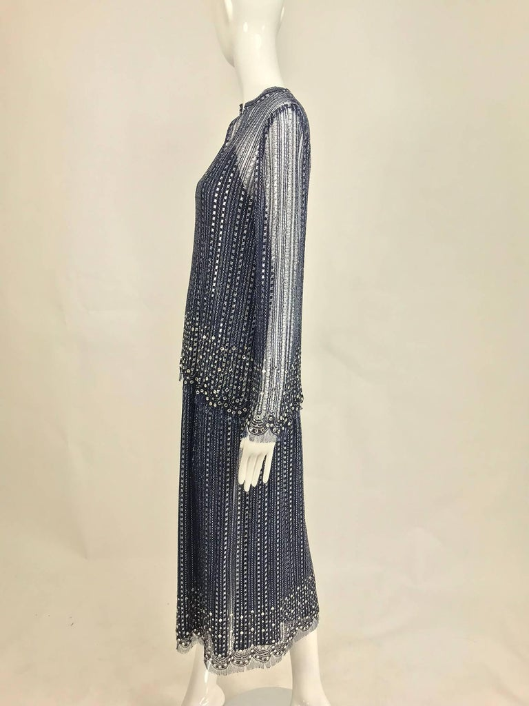 Vintage Mollie Parnis Silver and Inky Blue Rhinestone Dress 1970s For Sale 2