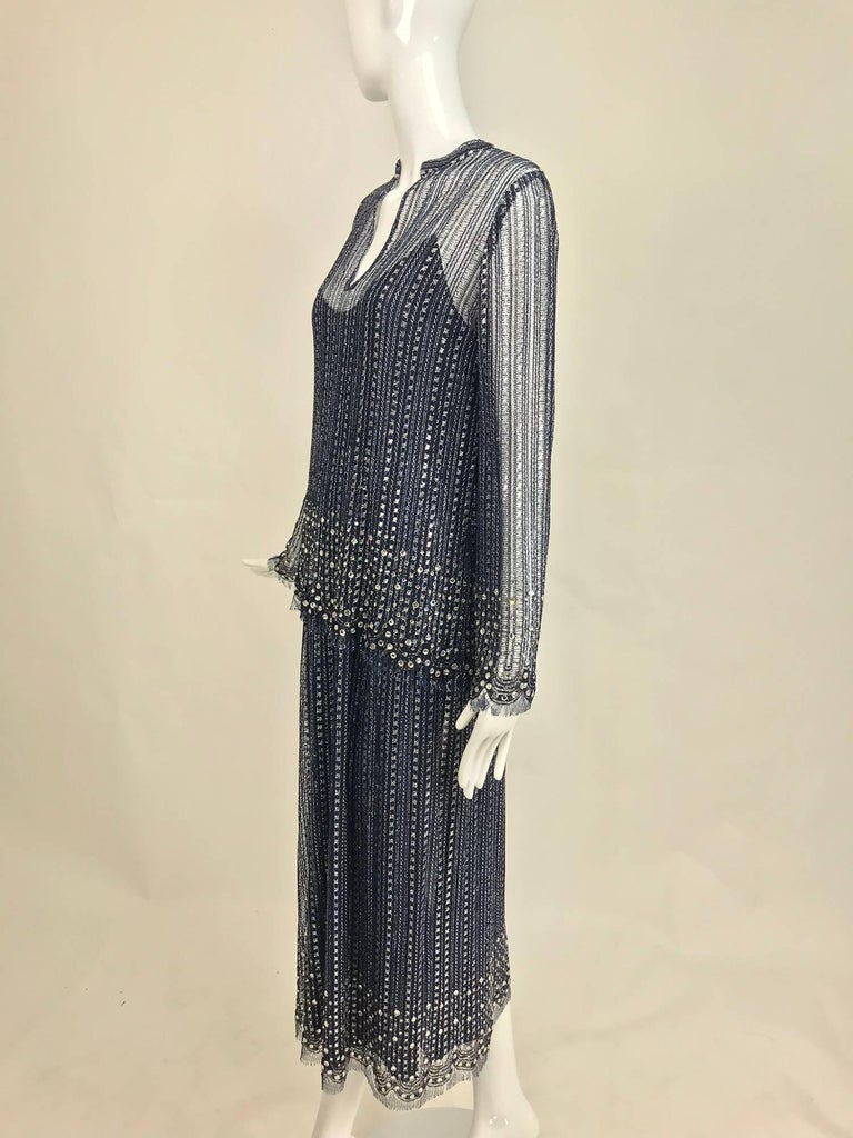 Vintage Mollie Parnis Silver and Inky Blue Rhinestone Dress 1970s For Sale 3