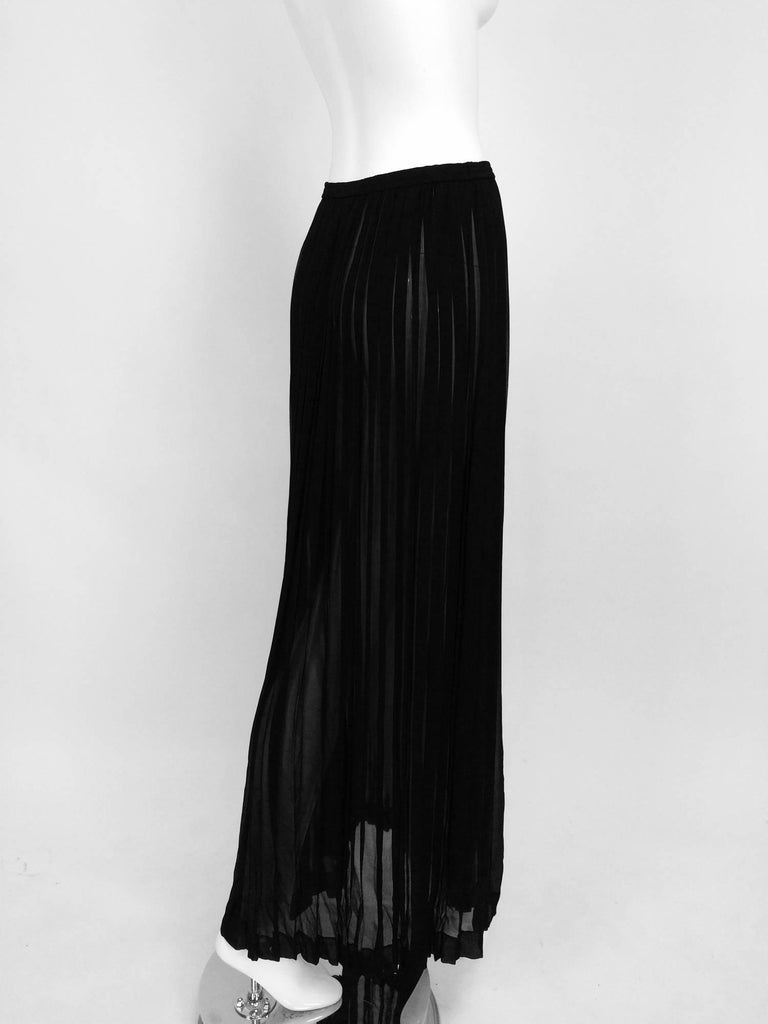 Yves Saint Laurent Black Silk Chiffon Knife Pleated Maxi Skirt Vintage 1970s For Sale 1