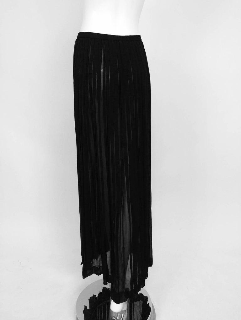 Yves Saint Laurent Black Silk Chiffon Knife Pleated Maxi Skirt Vintage 1970s For Sale 2