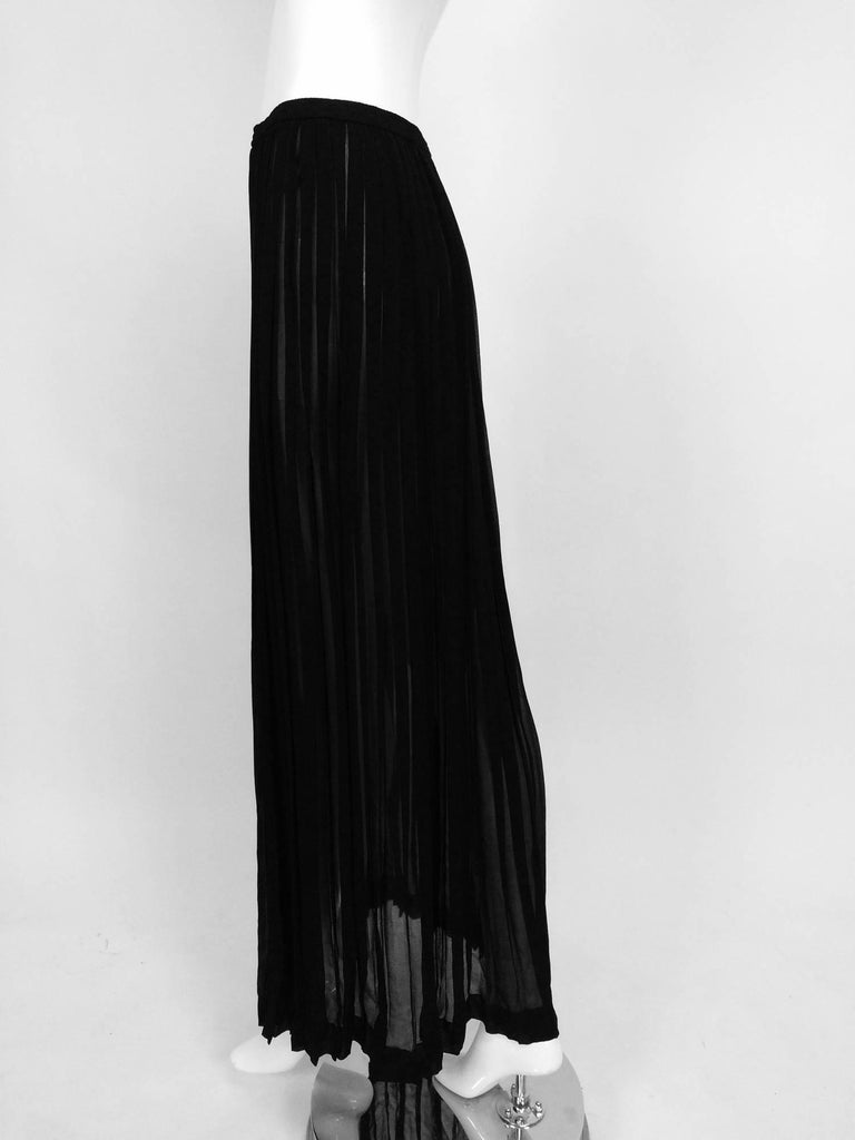 Yves Saint Laurent Black Silk Chiffon Knife Pleated Maxi Skirt Vintage 1970s For Sale 3