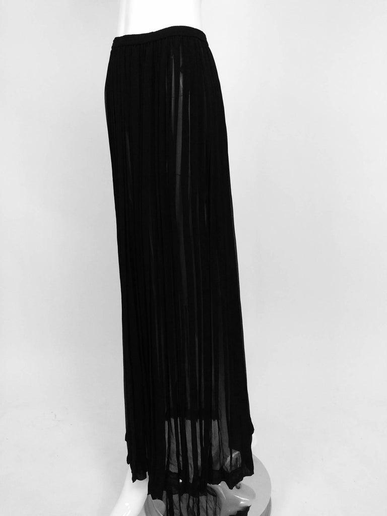 Yves Saint Laurent Black Silk Chiffon Knife Pleated Maxi Skirt Vintage 1970s For Sale 4