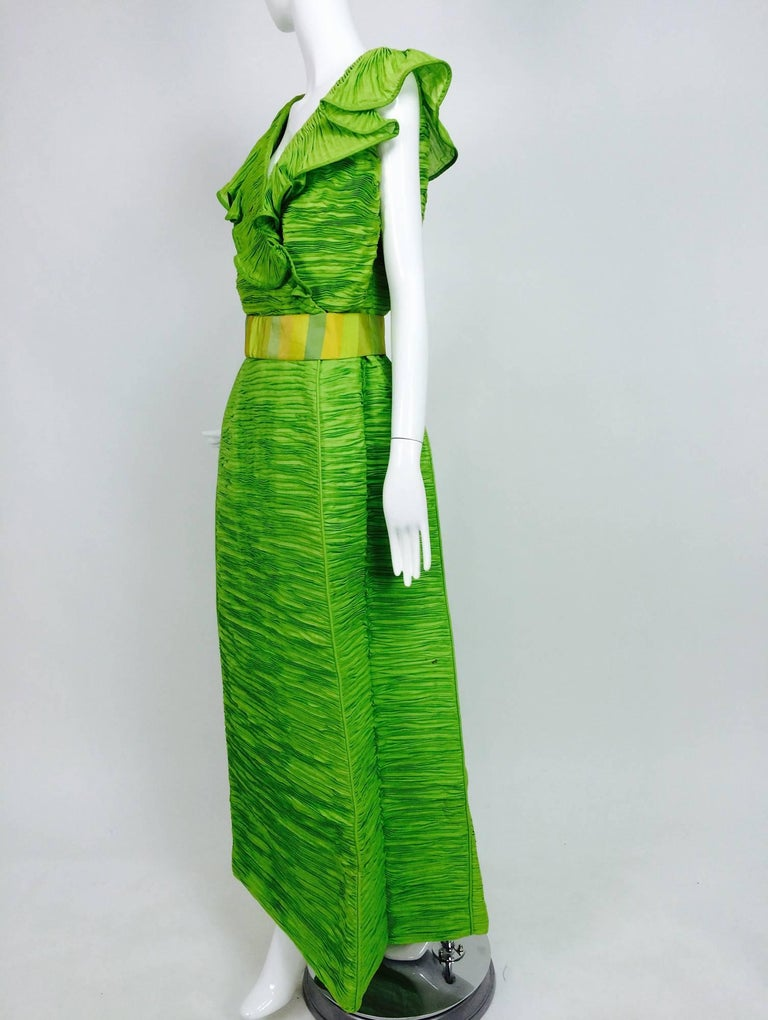 Sybil Connolly Dublin 2pc green pleated linen top and maxi skirt from the 1960s. Sybil Connolly made her debut as a designer in 1952, by the following year, one her gowns was featured on the cover of Life magazine titled. 'Irish invade Fashion
