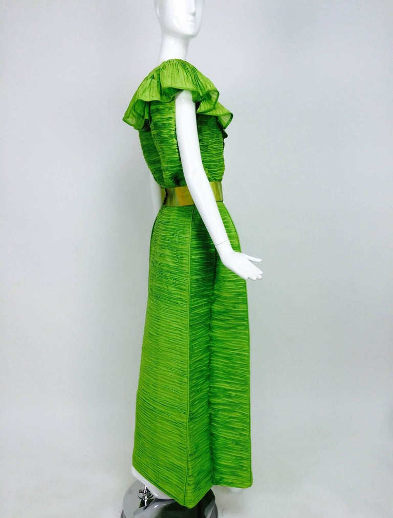 Sybil Connolly Dublin 2pc green pleated linen evening dress 1960s For Sale 2
