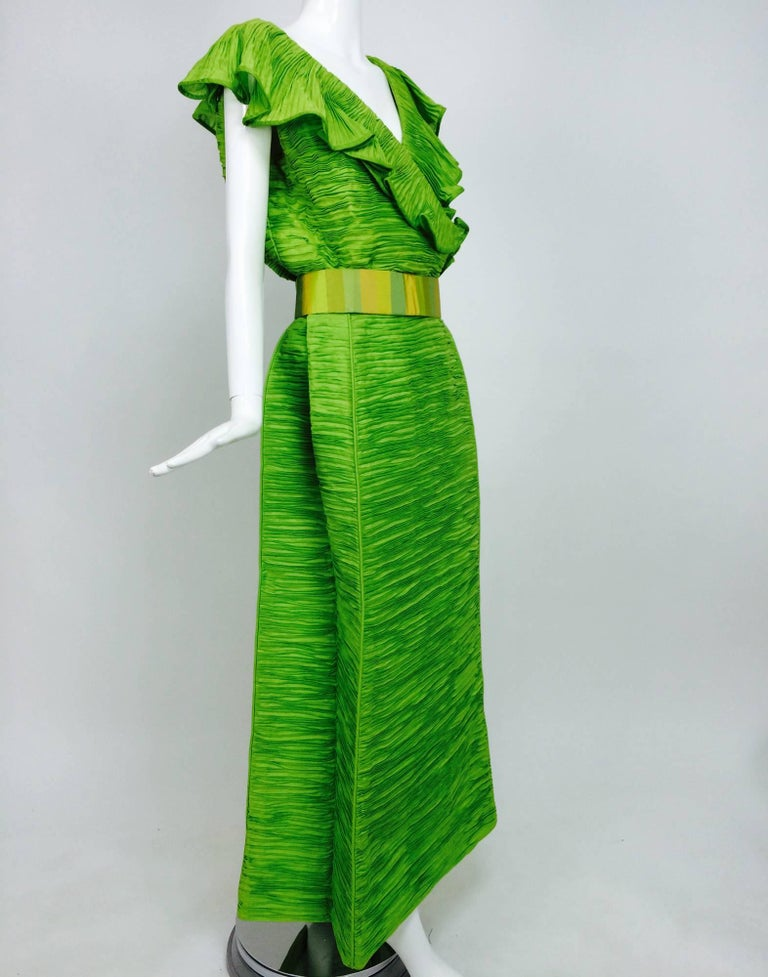Sybil Connolly Dublin 2pc green pleated linen evening dress 1960s For Sale 3