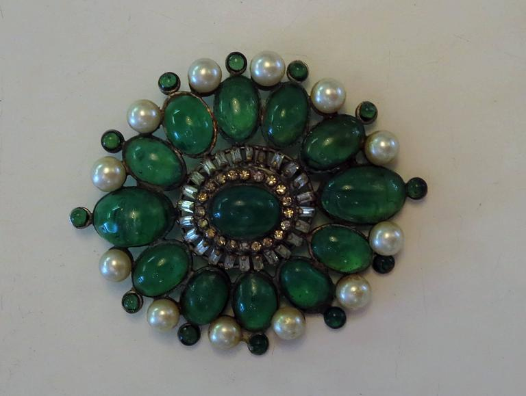 Chanel rare early signed large Gripoix emerald brooch 1950s 6