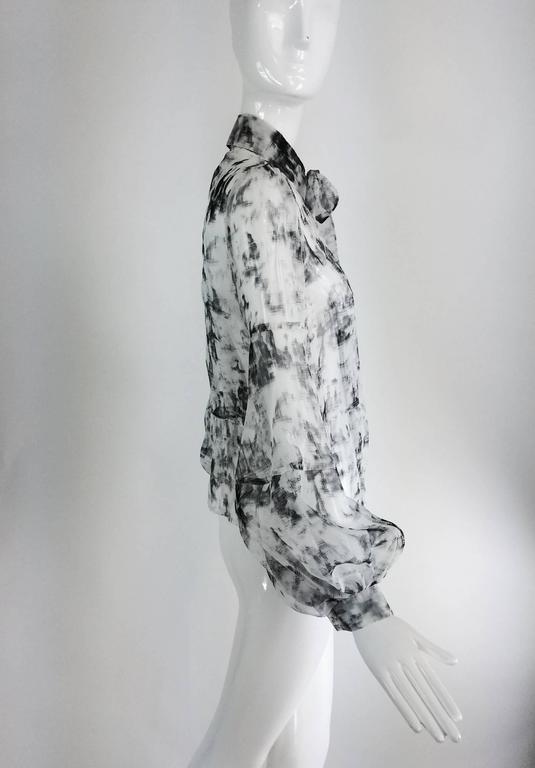 Valentino Hiver 2008 black & white organza blouse For Sale 4