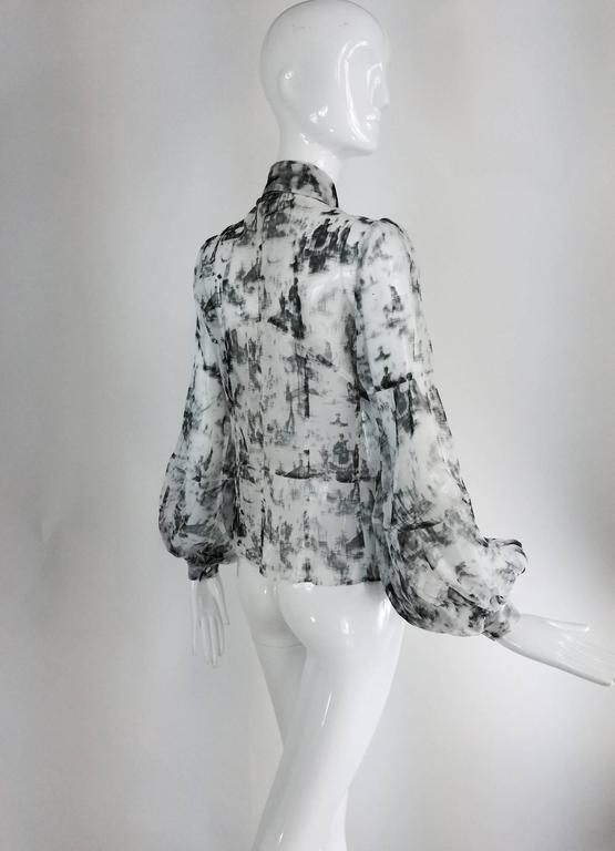 Valentino Hiver 2008 black & white organza blouse For Sale 3