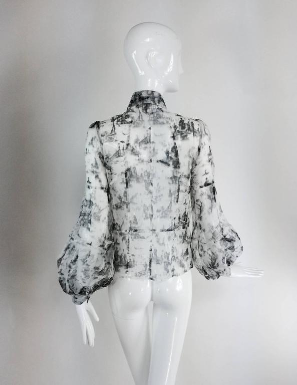 Valentino Hiver 2008 black & white organza blouse For Sale 2