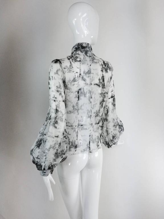 Valentino Hiver 2008 black & white organza blouse For Sale 1