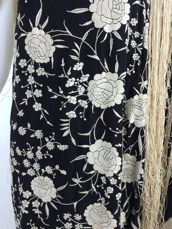 Gray Black & white floral silk Hand Embroidered Canton Piano Shawl 1920s For Sale