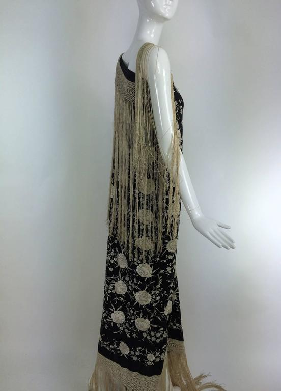 Black & white floral silk Hand Embroidered Canton Piano Shawl 1920s For Sale 4