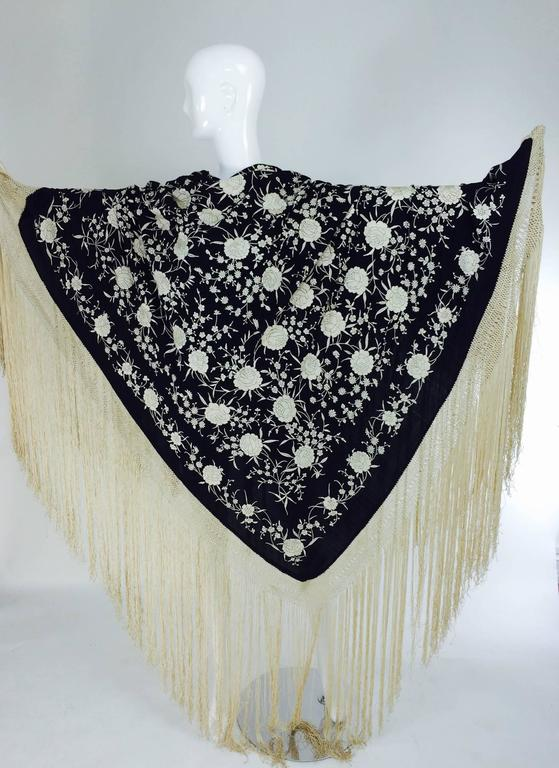 Black & white floral silk Hand Embroidered Canton Piano Shawl 1920s For Sale 5