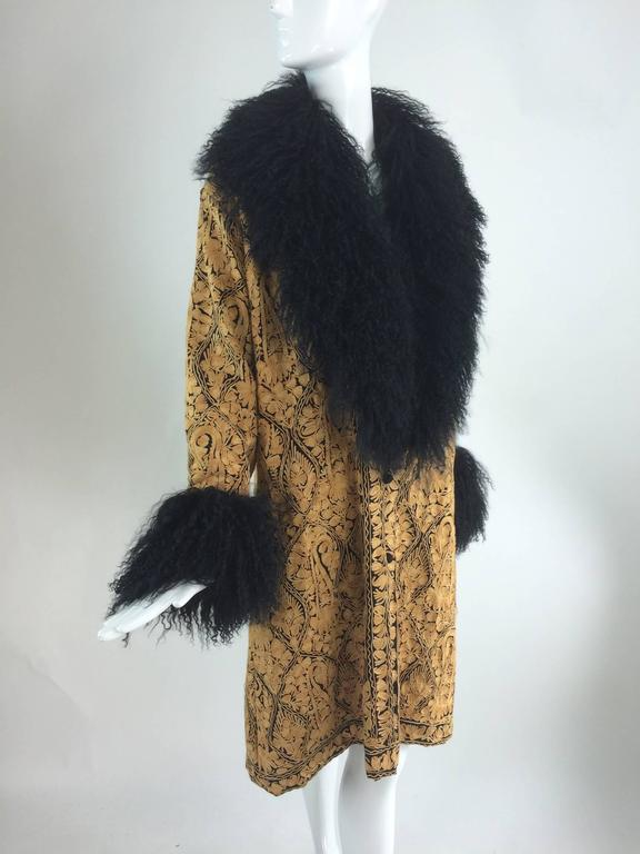 Women's Gold crewel embroidered coat with Mongolian lamb collar & cuffs 1960s For Sale