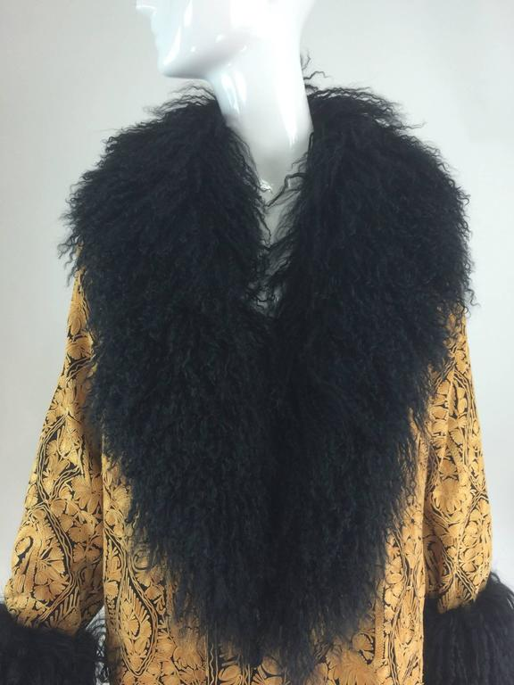 Gold crewel embroidered coat with Mongolian lamb collar & cuffs 1960s In Excellent Condition For Sale In West Palm Beach, FL