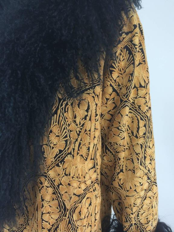 Gold crewel embroidered coat with Mongolian lamb collar & cuffs 1960s For Sale 5