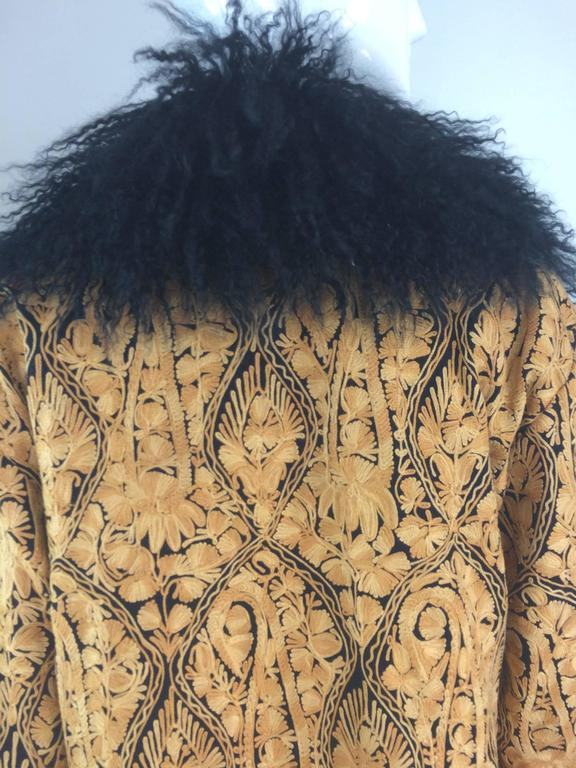 Gold crewel embroidered coat with Mongolian lamb collar & cuffs 1960s For Sale 4